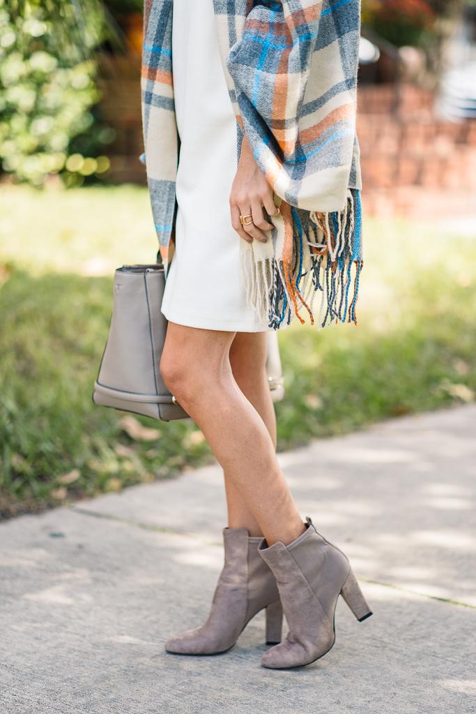 plaid blanket scarf, asos plaid scarf, sweater dress,