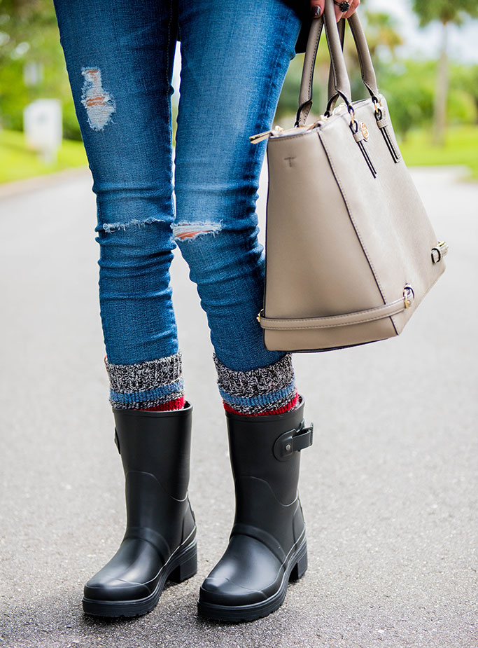 HUNTER RAIN BOOTS + STRIPED BOOT SOCKS | Alyson Haley