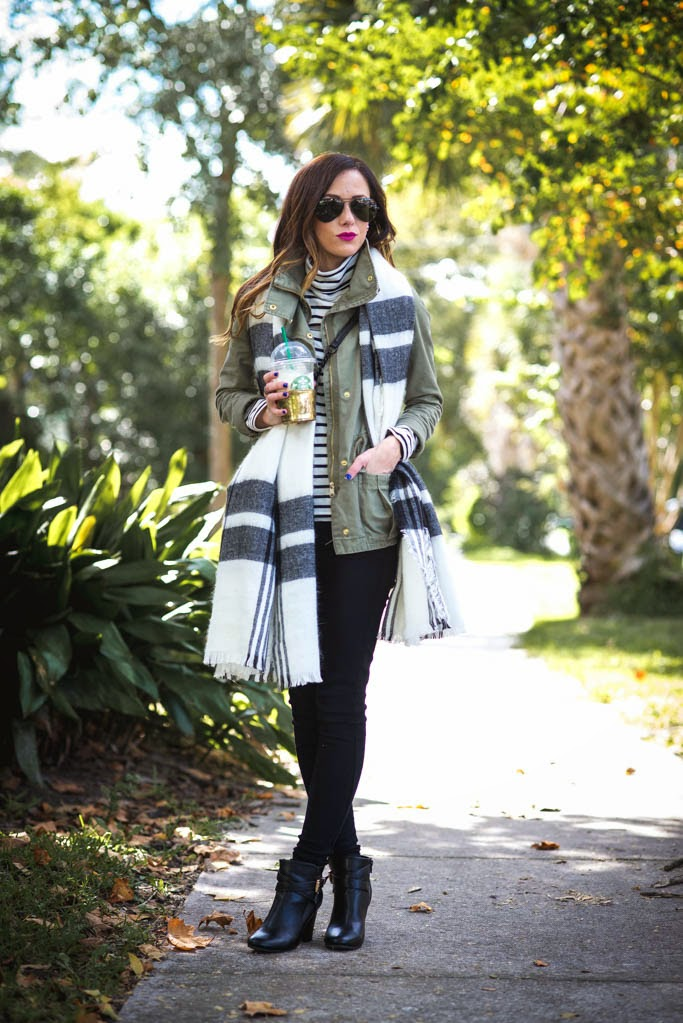 MACYS, FALL OUTFIT, PLAID SCARF, BLANKET SCARF, UTILITY JACKET, BLACK DENIM SKINNY JEANS, BLACK DENIM SKINNIES, PAIGE DENIM, TISSUE TURTLENECK, STRIPED TURTLENECK, JCREW TISSUE TURTLENECK, BAUBLEBAR 360 PEARL EARRINGS